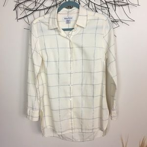 Cream and silver plaid button down TOMMY BAHAMA